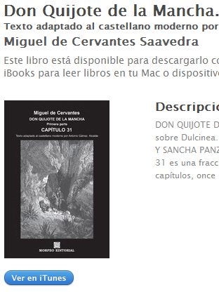 Ebook El Quijote, primera parte, capitulo 31, de Miguel de Cervantes, al castellano moderno, en ibookstore