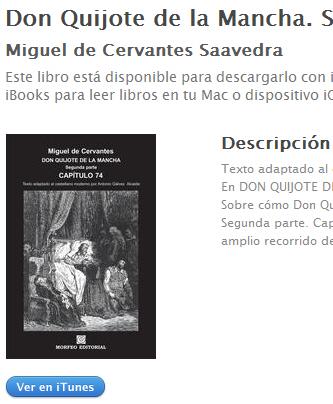 Ebook El Quijote, segunda parte, capítulo 74 y último, de Miguel de Cervantes, al castellano moderno, en ibookstore