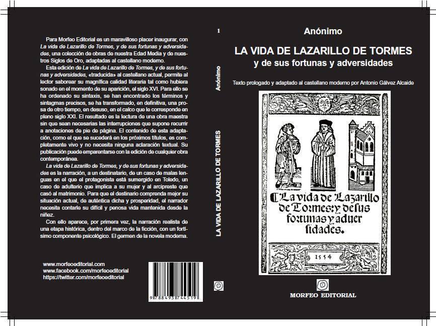 Portada y contraportada del Lazarillo de Tormes al castellano moderno